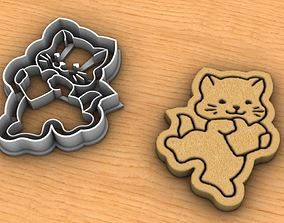3D print model Cat with heart cookie cutter
