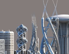 3D model tower Futuristic Skyscrapers