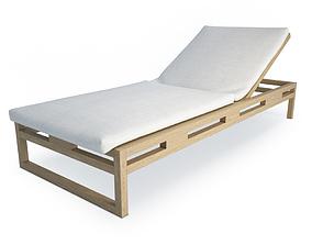 3D model Kontiki Wooden Outdoor Long chair 1