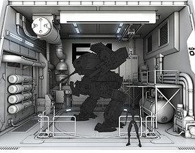 3D model Sci-Fi hangar module