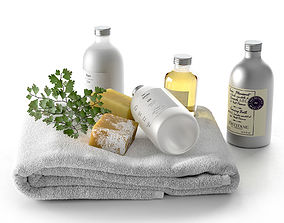 Lin Collection With Soap Parsley Branch and Towel 3D model