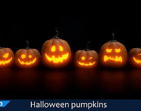 3D asset game-ready Halloween pumpkins set