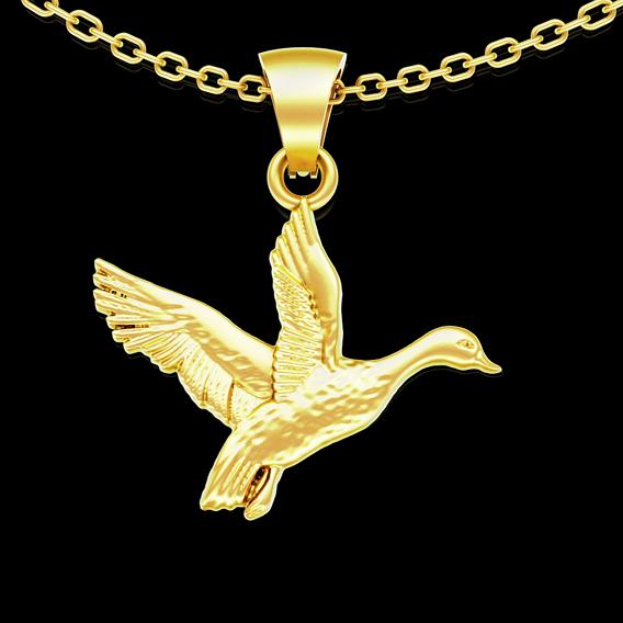 Duck flight pattern pendant jewelry gold necklace medallion 3D print model
