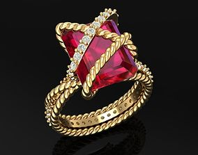 3D Golden Luxury Women Ring With Emerald