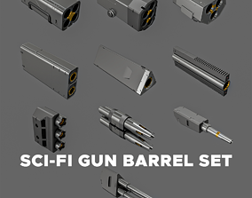 3D model Sci-Fi Gun Barrel Set