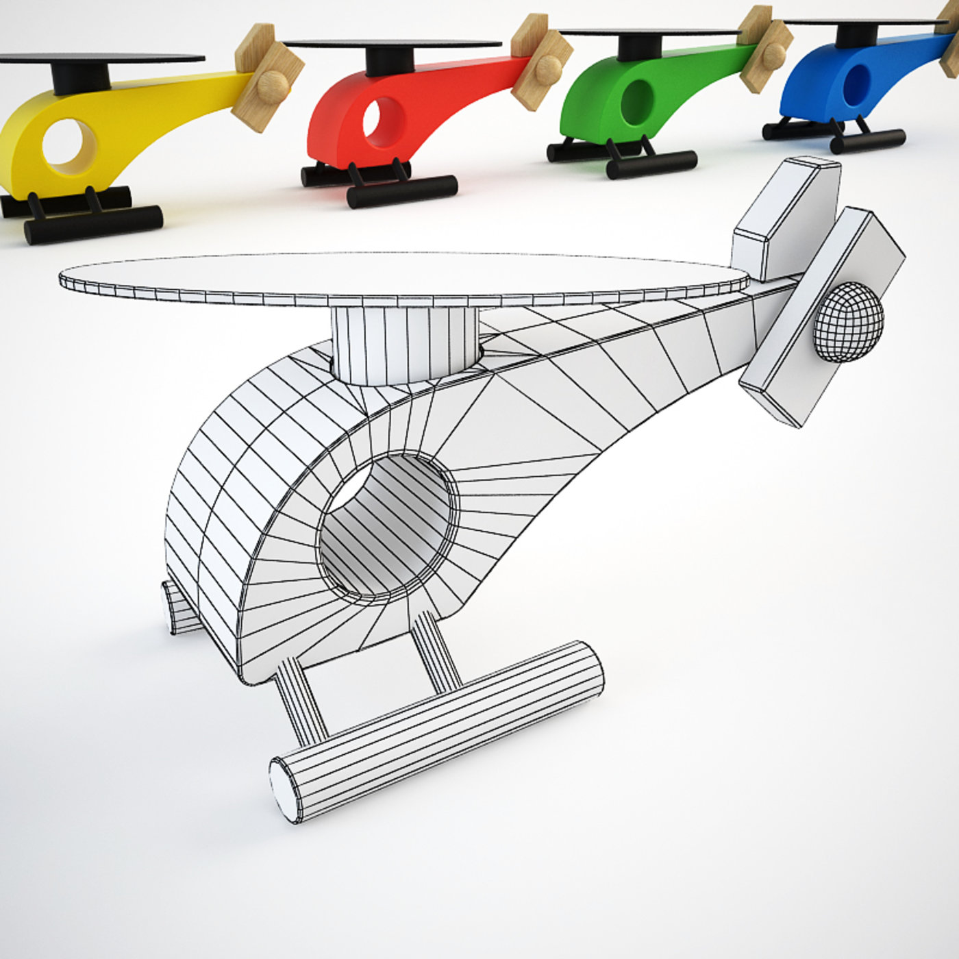 Wooden Helicopter Toy Set