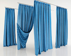 3D drapes Blu curtains variations