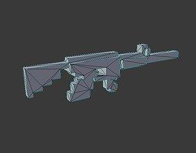 3D asset Low-poly Voxel Gun