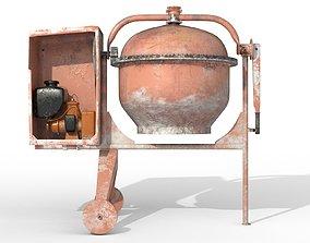 3D Worn Concrete Mixer High Poly
