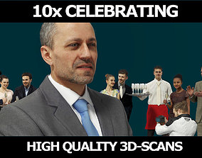 3D 10x Woman Man Business Scanned Celebrating People Vol 1
