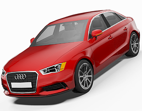 Audi A3 Saloon 3D model animated game-ready