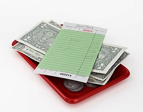 3D model Resturaunt Payment Tray
