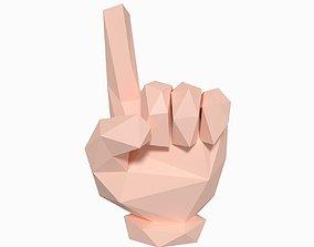 3D asset Cartoon Hand Direction Sign - Low Poly