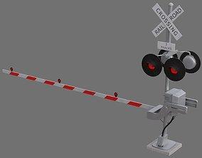 3D asset Railroad Crossing 1A