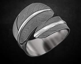 3D printable model Bird feather ring many sizes 149