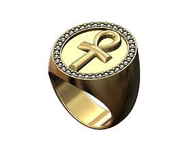 Large ANKH eternal key of lifet oval ring 3D print model 2