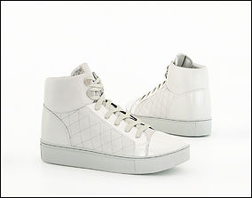 White ankle boot 3D
