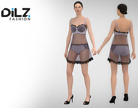 3D model Women Sexy Night Dress Lace Female Lingerie 1