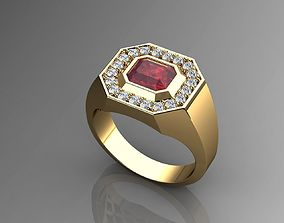3D print model Pave Mens Ring Diamond and Ruby