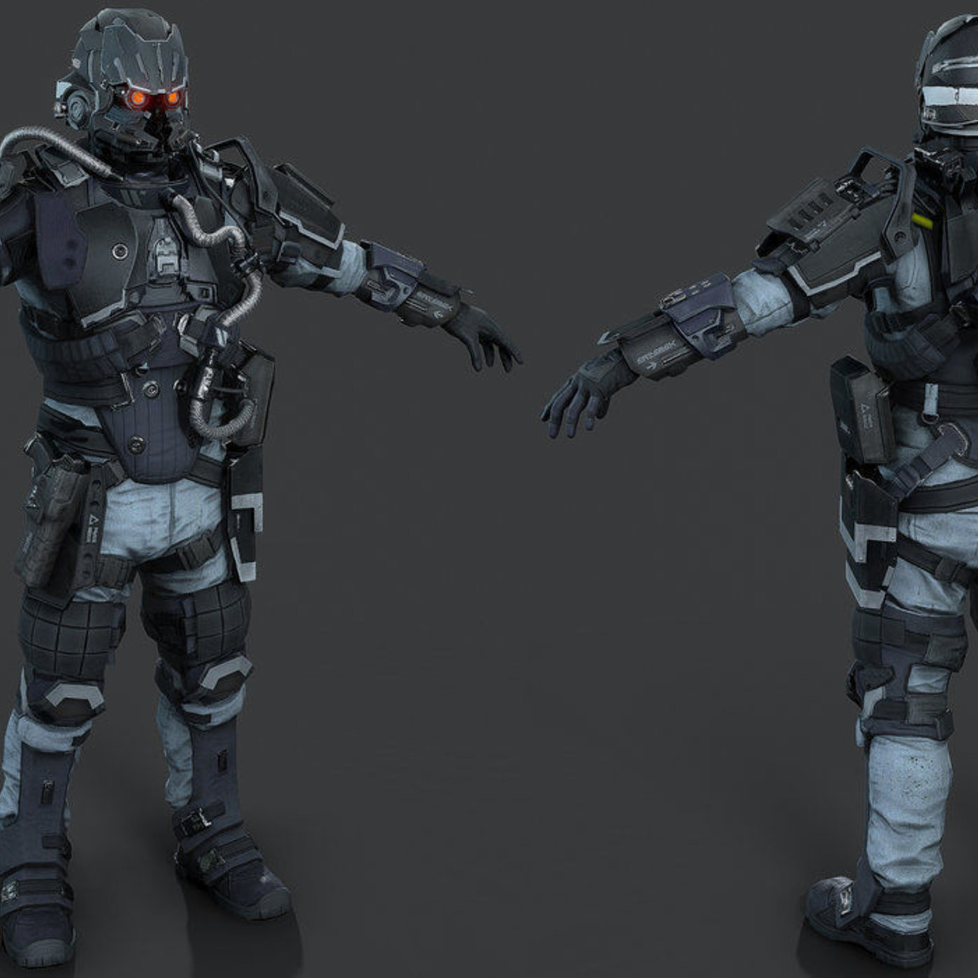 Killzone Shadow Fall - Helghast Infantry E3 Remodeled 3DS MAX 2014 Render Marmoset Toolbag 3