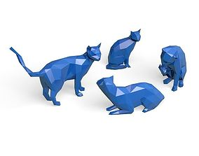 set of cats lowPoly 3D print model animal
