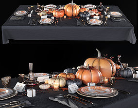 Golden autumn table set 3D model
