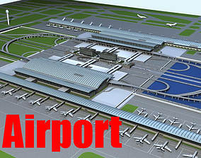 Airport with Planes and Landing Strip 3D model