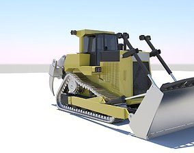 rigged chain Bulldozer Rigged Model