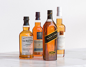 Bottles with whisky 3D