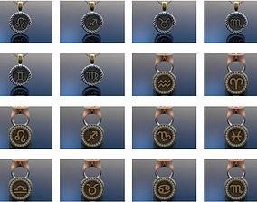 3D horoscope pendants rings