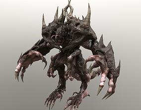 3D model animated Four hands monster