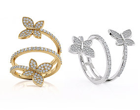3D printable model Butterflies jewelry ring R 0266