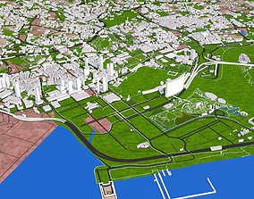 Johor with Singapore City 3d model realtime