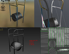 Old Soviet outdoor workout equipment 3D asset