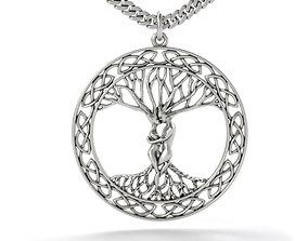 3D print model tree of life silver pendant