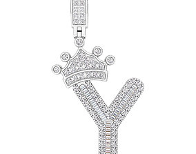 Crown Initial Y Letter Pendant 3D printable model
