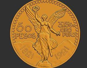 Mexico 50 Peso Gold Coin 3D print model