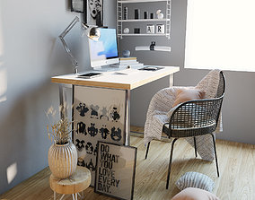 3D Workplace with decor