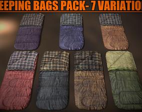 Sleeping Bags Pack - 7 Variations 3D model