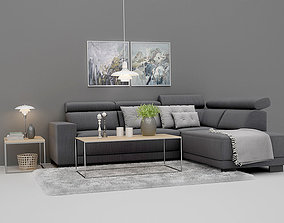 Lazy Cornersofa with Play sofatable Set 3D