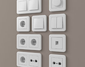 European outlets and light switches 2 - 3D model
