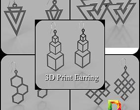 3D printable model geometric shape earing pendant