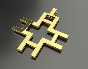 3D print model Pinwheel Letter H Necklace