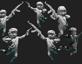 cupid angel for valentines day with gun 3D