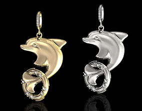 dolphin with lifebuoy pendant 3D print model