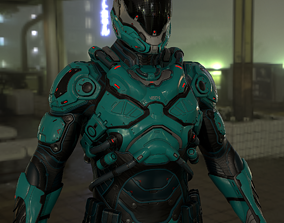 Futuristic Soldier 3D asset