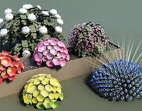 Flowerbed landscape flower bed 3D