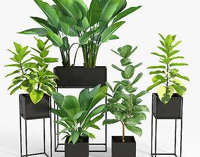 3D Three Black Standing Planters