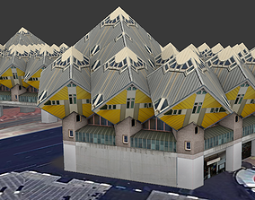 Cube Houses low-poly 3d model realtime