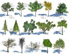 game-ready Natural Forest Trees Mega Pack Lowpoly 3d Model